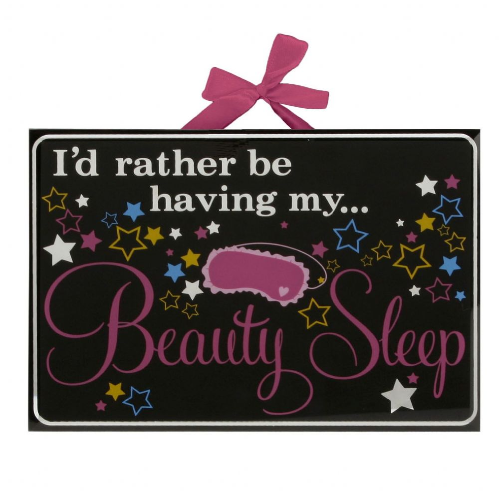 Beauty Sleep Glass Plaque